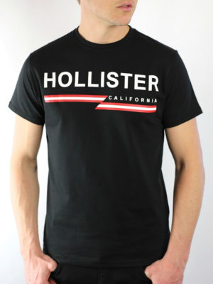 Hollister Slim Logo Print T-Shirt Black