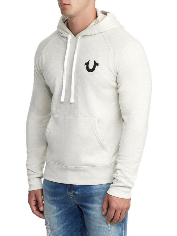 True Religion Quilted Raglan Pull Over Hoodie