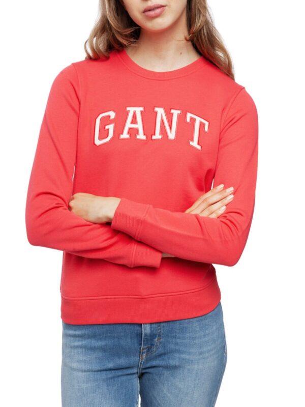 GANT Arch Logo Crew Neck Sweatshirt Jumper For Women dark pink_