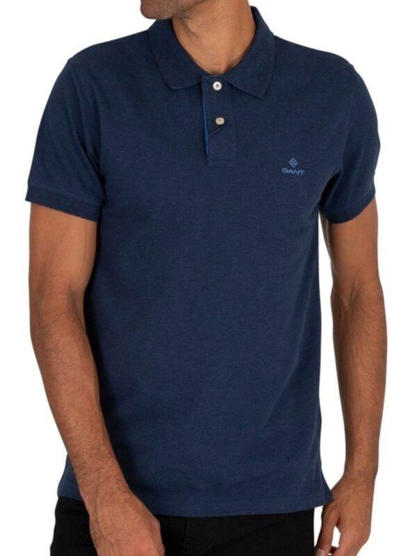 GANT Contrast Collar Pique' Rugger Polo Shirt Navy